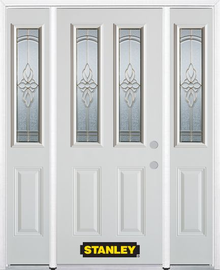 68-inch x 82-inch Trellis 2-Lite 2-Panel White Steel Entry Door with Sidelites and Brickmould