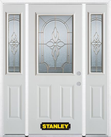64-inch x 82-inch Trellis 1/2-Lite 2-Panel White Steel Entry Door with Sidelites and Brickmould