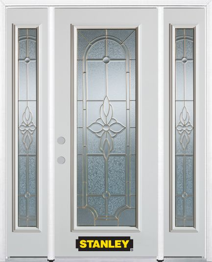 68-inch x 82-inch Trellis Full Lite Finished White Steel Entry Door with Sidelites and Brickmould