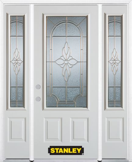 64-inch x 82-inch Trellis 3/4-Lite 2-Panel White Steel Entry Door with Sidelites and Brickmould