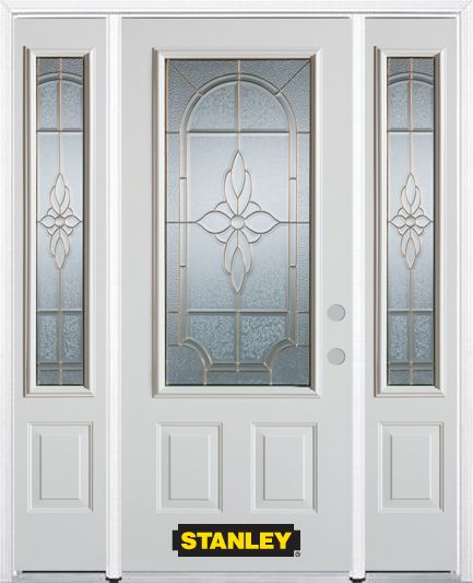 66-inch x 82-inch Trellis 3/4-Lite 2-Panel White Steel Entry Door with Sidelites and Brickmould