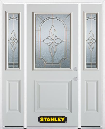 66-inch x 82-inch Trellis 1/2-Lite 1-Panel White Steel Entry Door with Sidelites and Brickmould