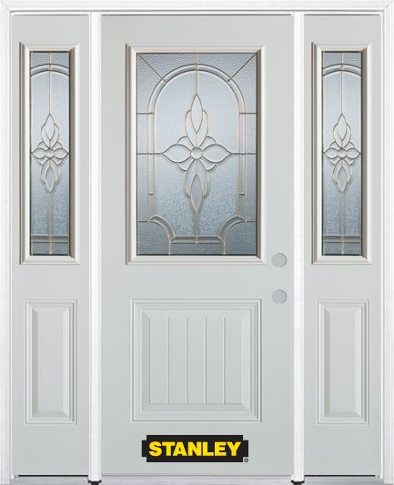 64-inch x 82-inch Trellis 1/2-Lite 1-Panel White Steel Entry Door with Sidelites and Brickmould