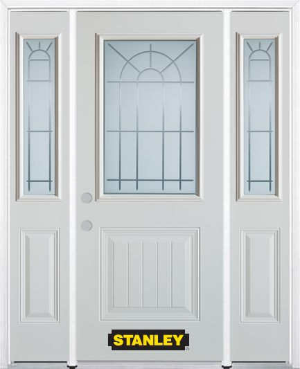 66-inch x 82-inch Chablis 1/2-Lite 1-Panel White Steel Entry Door with Sidelites and Brickmould