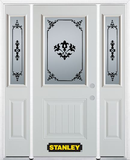 64-inch x 82-inch Renoir 1/2-Lite 1-Panel White Steel Entry Door with Sidelites and Brickmould