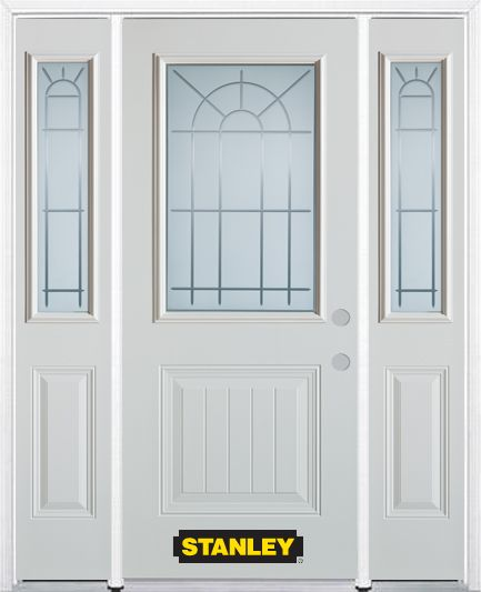64-inch x 82-inch Chablis 1/2-Lite 1-Panel White Steel Entry Door with Sidelites and Brickmould