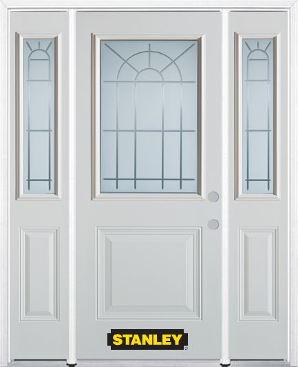 Stanley Doors 68.5 inch x 82.375 inch Chablis 1/2 Lite 1-Panel Prefinished White Left-Hand Inswing Steel Prehung Front Door with Sidelites and Brickmould