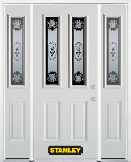 64-inch x 82-inch Mâtisse 2-Lite 2-Panel White Steel Entry Door with Sidelites and Brickmould