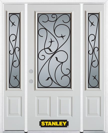 64-inch x 82-inch Borders 3/4-Lite 2-Panel White Steel Entry Door with Sidelites and Brickmould