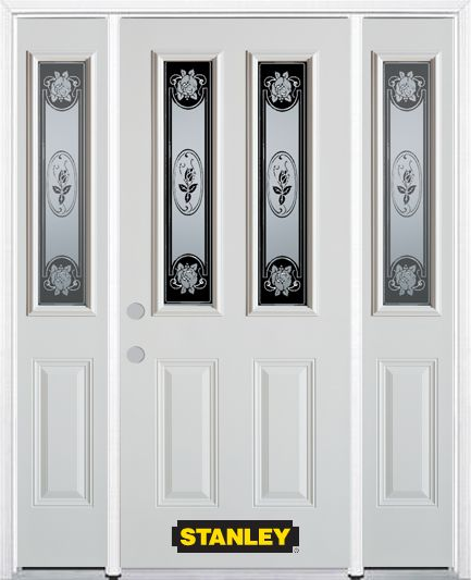 68-inch x 82-inch Mâtisse 2-Lite 2-Panel White Steel Entry Door with Sidelites and Brickmould