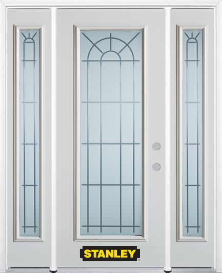 64-inch x 82-inch Chablis Full Lite Finished White Steel Entry Door with Sidelites and Brickmould