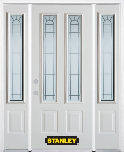 64-inch x 82-inch Chablis 2-Lite 2-Panel White Steel Entry Door with Sidelites and Brickmould