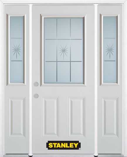 68-inch x 82-inch Beaujolais 1/2-Lite 2-Panel White Steel Entry Door with Sidelites and Brickmoul...
