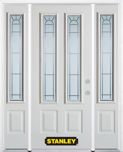 66-inch x 82-inch Chablis 2-Lite 2-Panel White Steel Entry Door with Sidelites and Brickmould