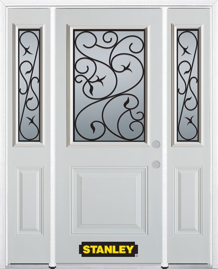 64-inch x 82-inch Borders 1/2-Lite 1-Panel White Steel Entry Door with Sidelites and Brickmould