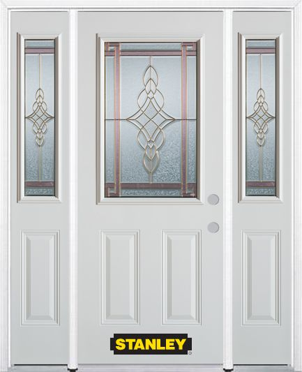 64-inch x 82-inch Milano 1/2-Lite 2-Panel White Steel Entry Door with Sidelites and Brickmould