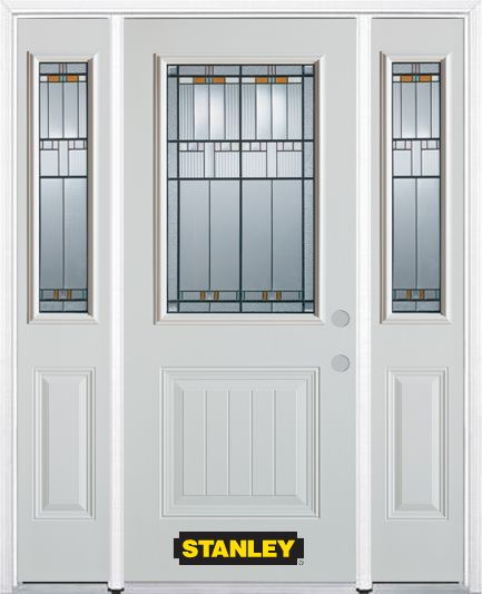 64-inch x 82-inch Chicago 1/2-Lite 1-Panel White Steel Entry Door with Sidelites and Brickmould