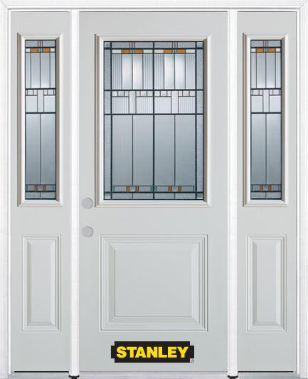 Porte dentrée en acier préfini en blanc, munie d'un panneau et dun 1/2 verre, 68 po x 82 po avec ...