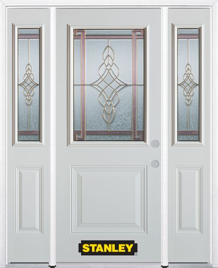 68-inch x 82-inch Milano 1/2-Lite 1-Panel White Steel Entry Door with Sidelites and Brickmould