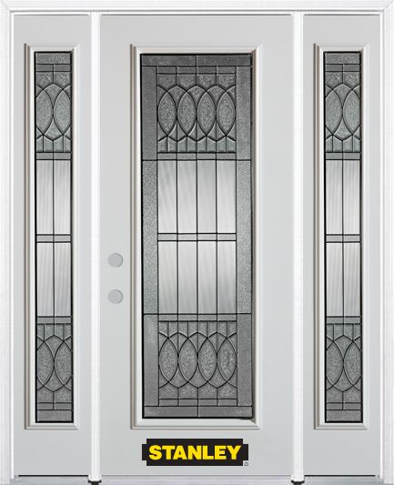 64-inch x 82-inch Nightingale Full Lite White Steel Entry Door with Sidelites and Brickmould