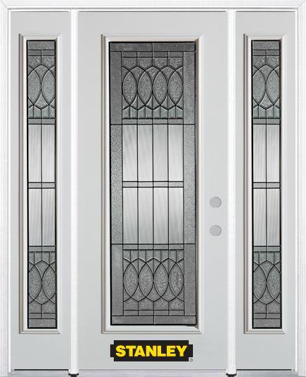 Porte dentrée en acier préfini en blanc, munie d'un panneau de verre, 66 po x 82 po avec panneaux...