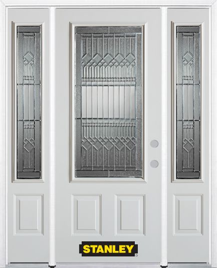 66-inch x 82-inch Lanza 3/4-Lite 2-Panel White Steel Entry Door with Sidelites and Brickmould