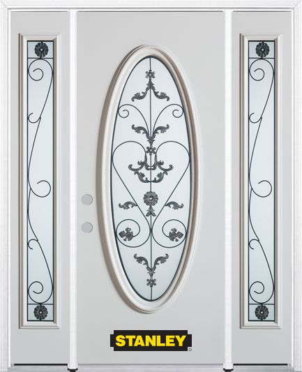 68-inch x 82-inch Blacksmith Full Oval Lite White Steel Entry Door with Sidelites and Brickmould