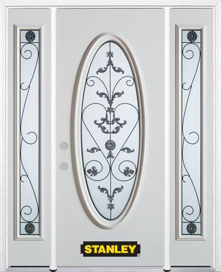 Porte dentrée en acier préfini en blanc, munie dun verre ovale, 68 po x 82 po avec panneaux latér...