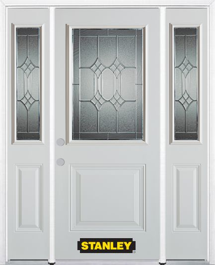 64-inch x 82-inch Orleans 1/2-Lite 1-Panel White Steel Entry Door with Sidelites and Brickmould