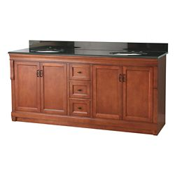 Foremost International Naples 72-inch W Vanity in Warm Cinnamon Finish with Granite Top in Black