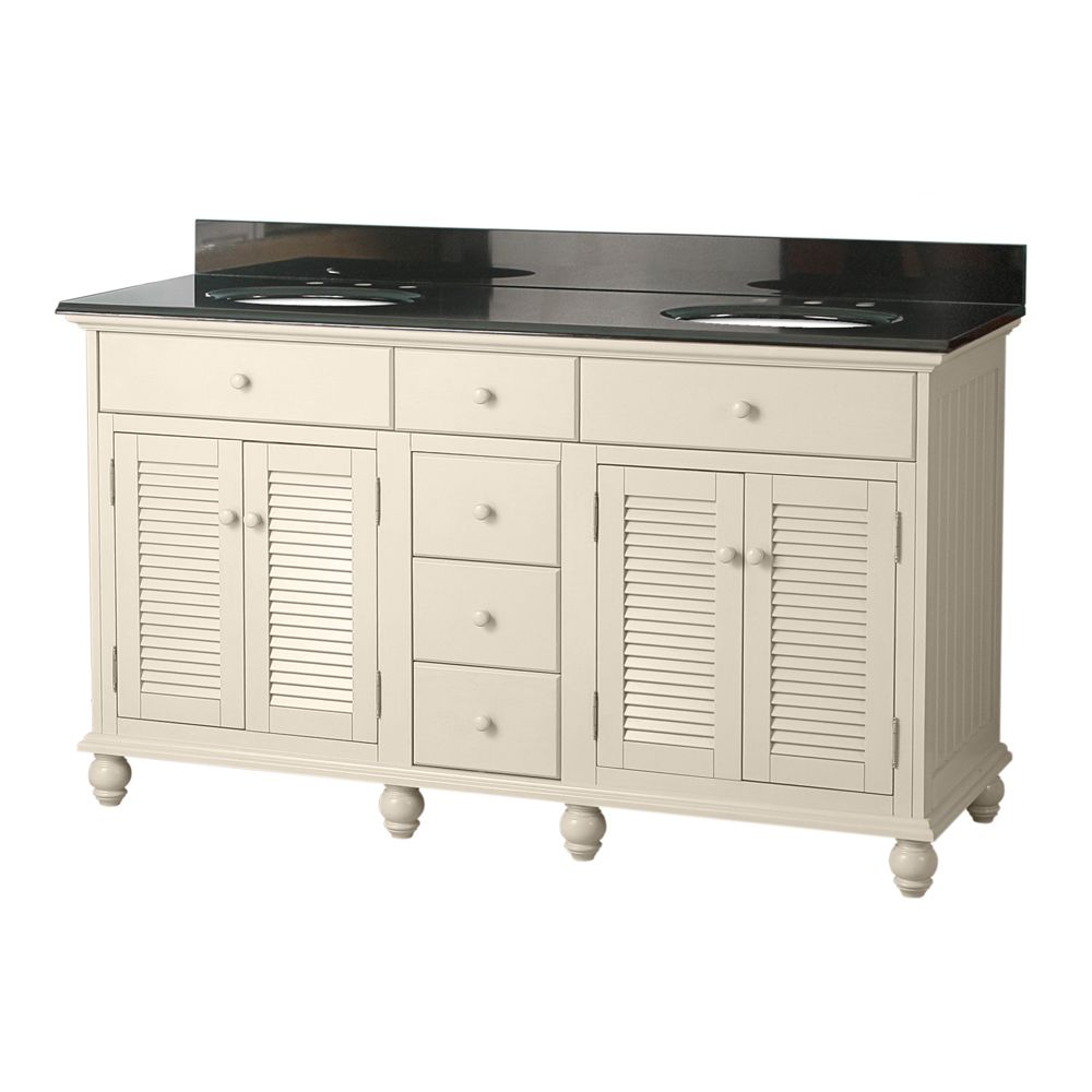 Cottage 60-inch W Vanity in Antique White in Finish