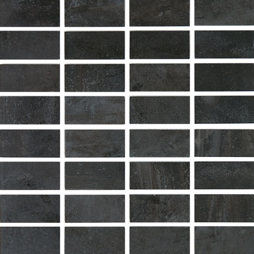 Cityscape T-1000 Carbon Glazed Porcelain Floor & Wall Mosaic Tile  - 12 Inch x 12 Inch Sheet