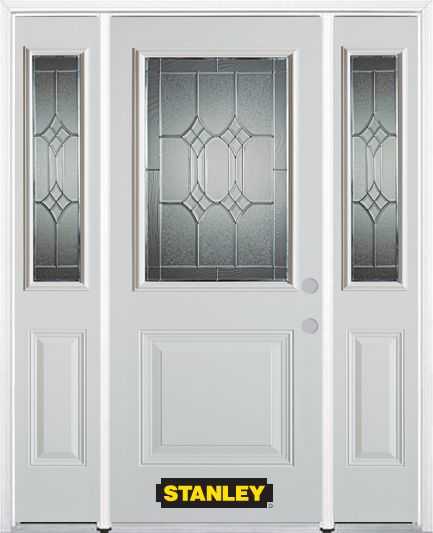 68-inch x 82-inch Orleans 1/2-Lite 1-Panel White Steel Entry Door with Sidelites and Brickmould