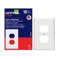Leviton Duplex Single Gang Midway Nylon Wallplate in White (10-Pack)