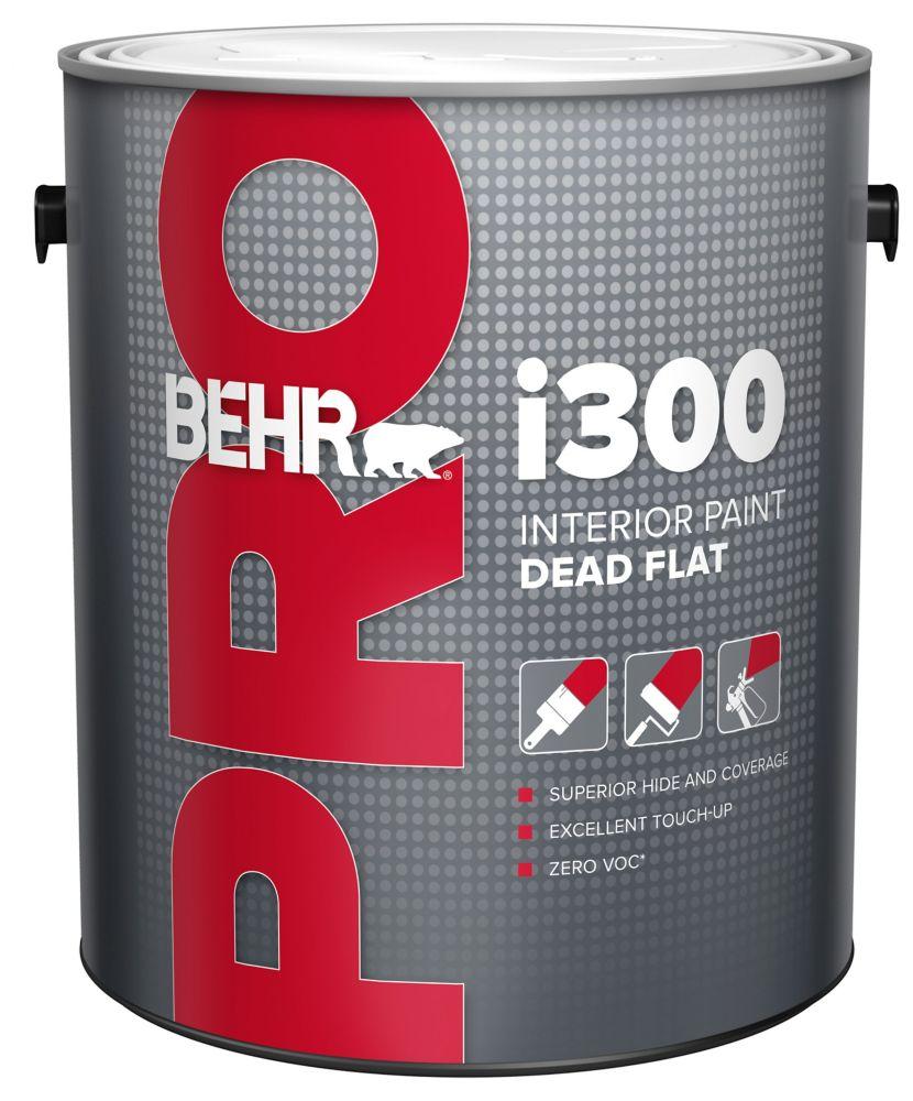BEHR PRO Série i300, Peinture intérieure mat absolu - Base moyenne, 3,79 L