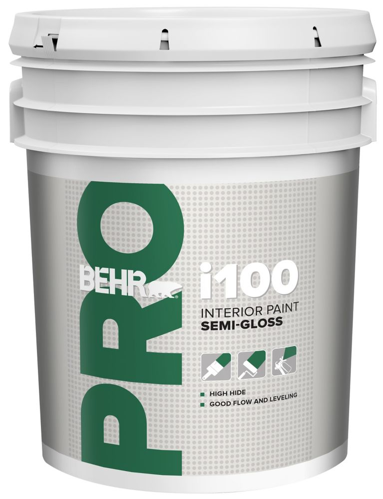 BEHR PRO Série i100, Peinture intérieure semi-brillante - Base blanche, 18,96 L