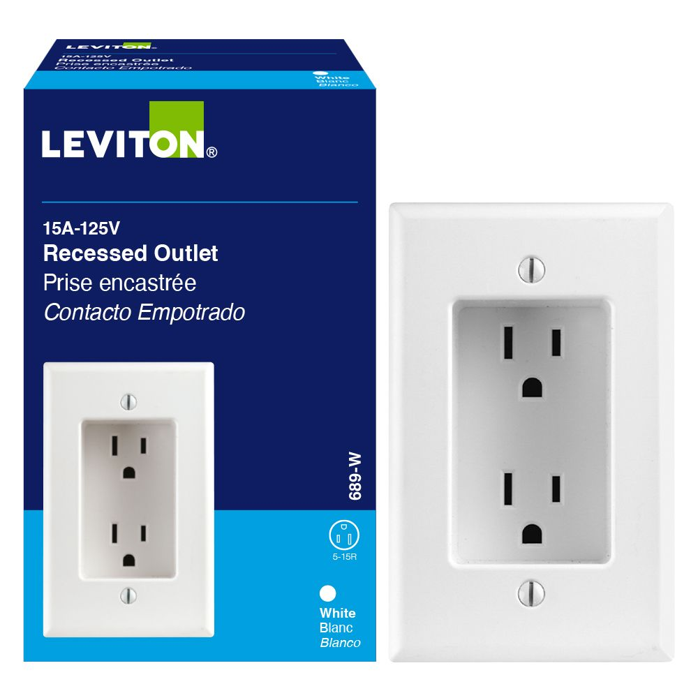 Leviton Duplex Single Gang Recessed Receptacle, White | The Home ...