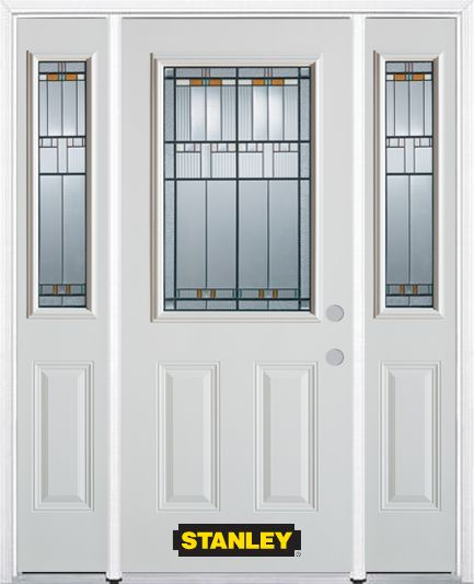 66-inch x 82-inch Chicago 1/2-Lite 2-Panel White Steel Entry Door with Sidelites and Brickmould