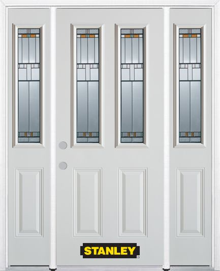 66-inch x 82-inch Chicago 2-Lite 2-Panel White Steel Entry Door with Sidelites and Brickmould