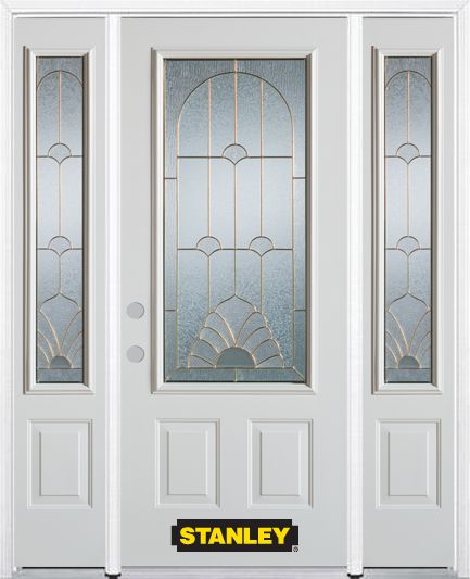 66-inch x 82-inch Florentine 3/4-Lite 2-Panel White Steel Entry Door with Sidelites and Brickmoul...