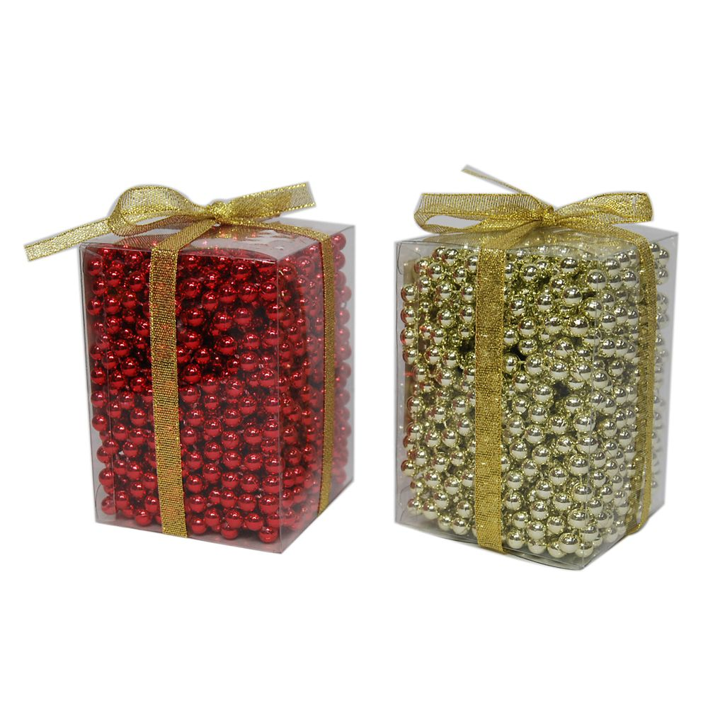 Bead Garland, Gold or Red - 48 Feet