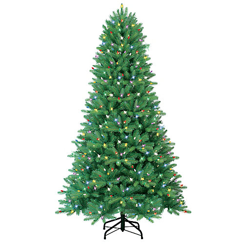 Energy Smart 7.5 Foot Just Cut Black Hills Fir - CSA Jewel Tone Multi LED