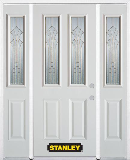 68-inch x 82-inch Gladis 2-Lite 2-Panel White Steel Entry Door with Sidelites and Brickmould