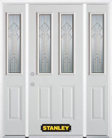 66-inch x 82-inch Gladis 2-Lite 2-Panel White Steel Entry Door with Sidelites and Brickmould