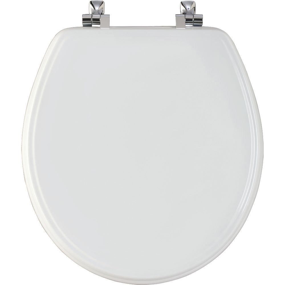 Round Moulded Wood Toilet Seat with Chrome Hinge and STA-TITE in White 526CH 000 Canada Discount