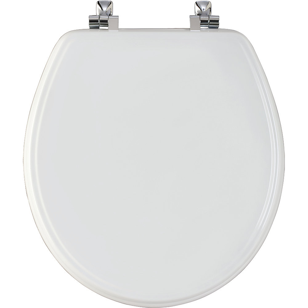 Round Wood Toilet Seat with Chrome Hinge and STA-TITE in White