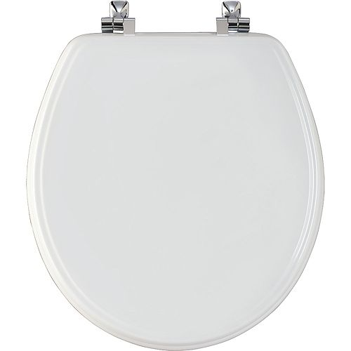 Bemis Round Wood Toilet Seat with Chrome Hinge and STA-TITE in White
