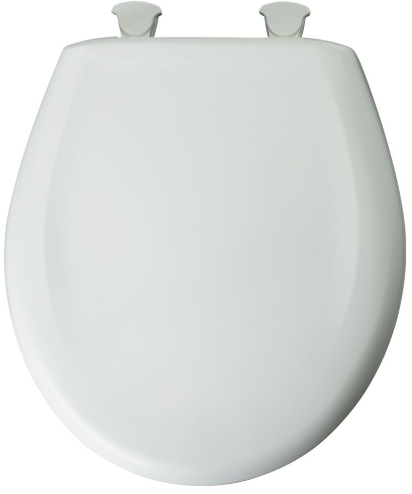 Bemis Round Plastic Toilet Seat with Whisper Close and Easy Clean & Change Hinge in White
