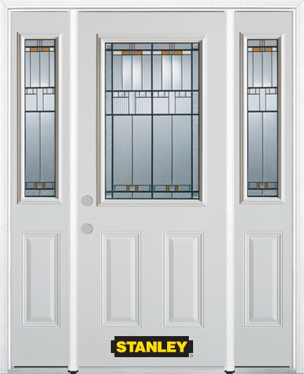 68-inch x 82-inch Chicago 1/2-Lite 2-Panel White Steel Entry Door with Sidelites and Brickmould