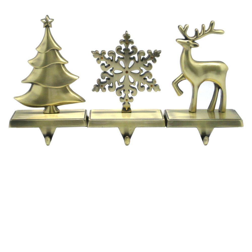 Antique Brass Stocking Hanger - 7 Inch (Assorted Designs)